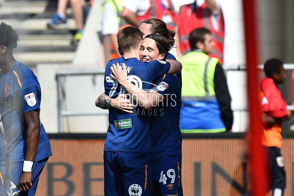 Goal - Harry Wilson (49) of Hull City celebrates scoring a goal to give a 0-1 lead to the away team during the EFL Sky Bet Championship match between Bristol City and Hull City at Ashton Gate, Bristol, England on 21 April 2018. Picture by Graham Hunt.