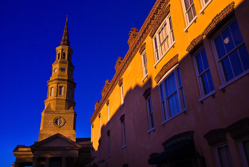 Street scene on Church Street with St. Philip's Episcopal Church in back, Charleston, South Carolina