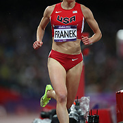 Bridget Franek, USA,  brings up the rear during the Women's 3000m Steeplechase Final at the Olympic Stadium, Olympic Park, during the London 2012 Olympic games. London, UK. 6th August 2012. Photo Tim Clayton