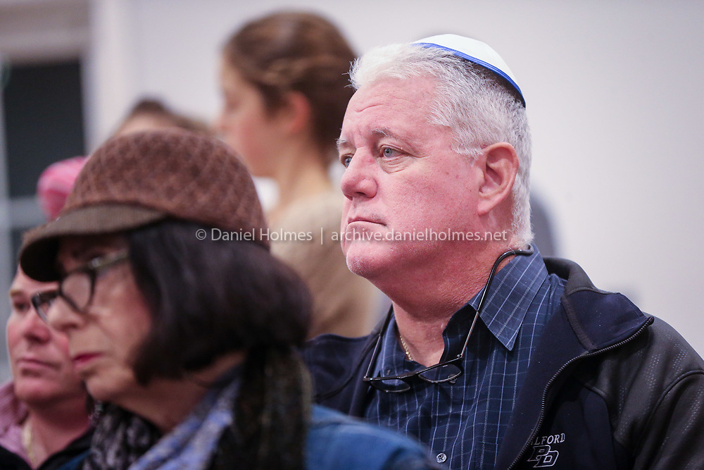 (10/28/18, MILFORD, MA) Milford Police Chief Thomas O'Loughlin attended the memorial and moment of Torah at Chabad House Jewish Center in Milford on Sunday. The memorial will be held to honor the 11 people killed and those who were injured at the Tree of Life Synagogue in Pittsburgh. [Daily News and Wicked Local Photo/Dan Holmes]