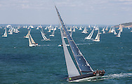 The 2013 Rolex Fastnet race start. Cowes. UK<br /> Pictures of the 72ft Judel Vrolijk Mini Maxi - Rán 2 skippered by Niklas Zennstrom. Shown here as they race down the Solent <br /> Credit: Lloyd Images
