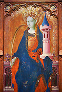 Gothic painted Panel Altarpiece of Saint Barbara by Goncal Peris Sarria. Tempera and gold leaf on wood. Date Circa 1410-1425. Dimensions 278 x 207.7 x 17 cm. At the beginning of the 20th century, the altarpiece was kept in the parish church of Puertomingalvo (Teruel), but it could originally have come from the chapel of Santa Bárbara near this town. This altarpiece is attributed to the painter Gonçal Peris Sarrià, one of the chief representatives of Valencian International Gothic. His style is marked by expressive and picturesque elements, the flowing line and the charm of the colour. The main compartment of the altarpiece represents the titular saint with her distinctive attributes –the tower, in allusion to her imprisonment, and the palm, as she is considered a martyr-- and above her the Calvary. On either side are depicted various episodes from the life of Saint Barbara, who was called on to keep away lightning and storms. . National Museum of Catalan Art, Barcelona, Spain, inv no: 035672-CJT .<br /> <br /> If you prefer you can also buy from our ALAMY PHOTO LIBRARY  Collection visit : https://www.alamy.com/portfolio/paul-williams-funkystock/gothic-art-antiquities.html  Type -     MANAC    - into the LOWER SEARCH WITHIN GALLERY box. Refine search by adding background colour, place, museum etc<br /> <br /> Visit our MEDIEVAL GOTHIC ART PHOTO COLLECTIONS for more   photos  to download or buy as prints https://funkystock.photoshelter.com/gallery-collection/Medieval-Gothic-Art-Antiquities-Historic-Sites-Pictures-Images-of/C0000gZ8POl_DCqE