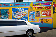 Streatched limo parked outside the Lost Vegas Antiques store. The only store in Las Vegas to offer genuine historical memorabilia. Items from the Rat Pack era, Elvis in Vegas, Liberace, Wayne Newton, Sinatra, and many more Las Vegas Celebrities.