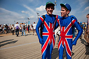 London, UK. Thursday 9th August 2012. London 2012 Olympic Games Park in Stratford. Fans of Team GB in Union Jack morph suits. Patriotism seems to have taken a huge surge during the games.