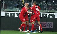 Fotball , 9. desember 2020 , Eliteserien , Srart - Brann <br /> jubel Petter Strand   , Brann , Kristoffer Barmen