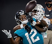 during the second half of an NFL football game, Thursday, Sept. 24, 2020, in Jacksonville, Fla. (AP Photo/Stephen B. Morton)