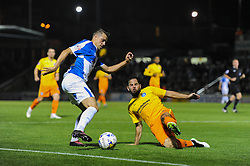 Billy Bodin of Bristol Rovers is closed down by Sam Wood of Wycombe Wanderers - Mandatory byline: Dougie Allward/JMP - 07966 386802 - 06/10/2015 - FOOTBALL - Memorial Stadium - Bristol, England - Bristol Rovers v Wycombe Wanderers - JPT Trophy