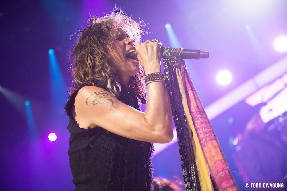 Aerosmith performing at the iHeartRadio Music Festival in Las Vegas, Nevada on September 22, 2012.
