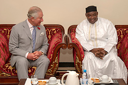 The Prince of Wales at a meeting with President Adama Barrow at the State House in Banjul, The Gambia, on day two of the royal couple's trip to west Africa.