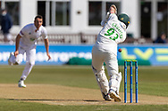 Gavin Griffiths drives Kyle Abbott for 4 during the final day of the LV= Insurance County Championship match between Leicestershire County Cricket Club and Hampshire County Cricket Club at the Uptonsteel County Ground, Leicester, United Kingdom on 11 April 2021.