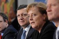 09 JAN 2007, BERLIN/GERMANY:<br /> Dr. Jose Manuel Barroso (L), Praesident der Europaeischen Kommission, und Angela Merkel (R), CDU, Bundeskanzlerin, waehrend einer Pressekonferenz, nach der gemeinsamen Kabinettsitzung des Bundeskabinetts und der Kommission der Europaeischen Kommission, Bundeskanzleramt<br /> IMAGE: 20070109-02-028<br /> KEYWORDS: Dr. José Manuel Barroso