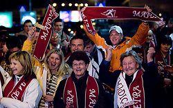Fans of Slovenian athlete Petra Majdic when she arrived home with cristal globus at the end of the nordic season 2008/2009, on March 23, 2009, at airport Jozeta Pucnika, Brnik, Slovenia. (Photo by Vid Ponikvar / Sportida)