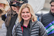 Secretary of State for International Development, Justine Greening - 'Walk in Her Shoes' a mother's day march in solidarity with women and girls around the world and in advance of International Womens Day this week - CARE International's Walk In Her Shoes event led by Helen Pankhurst, her 21-year old daughter Laura Pankhurst, music legend Annie Lennox, Bianca Jagger, comedian Bridget Christie, Secretary of State for International Development Justine Greening, London Mayoral candidates Sadiq Khan and Sophie Walker and a group of 'Olympic Suffragettes' in Edwardian clothing with banners. They were also joined by Sister Sledge.