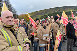 New Scottish Labour leader Richard Leonard delivered a speech to members of the Fire Brigades Union at a rally at the Scottish Parliament, after firefighters and control staff marched to demand the Government protect firefighter numbers and fire stations.<br /> <br /> © Dave Johnston/ EEm
