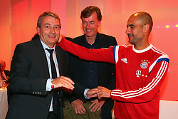 "17.05.2014, T Com, Berlin, GER, DFB Pokal, Bayern Muenchen Pokalfeier, im Bild Josep Guardiola (R), head coach of Bayern Muenchen talks to Wolfgang Niersbach, President of German Football Association (DFB) with Michael Hagsphil (C), Marketing Director of Telekom Deutschland Josep Guardiola, Wolfgang Niersbach, Michael Hagsphil, // during the FC Bayern Munich ""DFB Pokal"" Championsparty at the T Com in Berlin, Germany on 2014/05/17. EXPA Pictures © 2014, PhotoCredit: EXPA/ Eibner-Pressefoto/ EIBNER<br /> <br /> *****ATTENTION - OUT of GER*****"