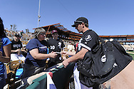 GLENDALE, AZ - MARCH 5:  Brent Morel #77 of the Chicago White Sox signs autographs before the game against the Los Angeles Dodgers on March 5, 2010 at The Ballpark at Camelback Ranch in Glendale, Arizona. (Photo by Ron Vesely)