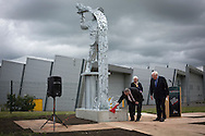 The official unveiling of Steel Man, a new sculpture by Scottish artist Andy Scott, made to commemorate those who lost their lives in the iron and steel industry in Scotland. The memorial was sited at Ravenscraig in Lanarkshire, on the site of Europe's largest former hot strip mill, which closed in 1992. The site was cleared in 1996 and now houses a sports centre, college and housing.