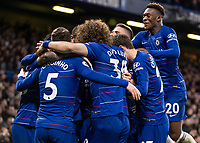 Football - 2018 / 2019 Premier League - Chelsea vs. Brighton & Hove Albion<br /> <br /> Chelsea players celebrate with Ruben Loftus Cheek (Chelsea FC)  at Stamford Bridge <br /> <br /> COLORSPORT/DANIEL BEARHAM