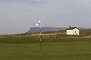 The 18th green with Ben Bulbin in the background during Round 3 of The West of Ireland Open Championship in Co. Sligo Golf Club, Rosses Point, Sligo on Saturday 6th April 2019.<br /> Picture:  Thos Caffrey / www.golffile.ie
