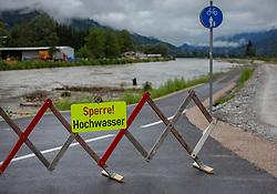 29.07.2019, Zell am See, AUT, Hochwasser in Oesterreich, Salzburg, im Bild der Radweg entlang der Salzach ist wegen Hochwasser gesperrt, aufgenommen am 29. Juli 2019, Zell am See, Österreich // the cycle path along the Salzach river is closed due to flooding, Zell am See, Austria on 2019/07/29. EXPA Pictures © 2019, PhotoCredit: EXPA/Stefanie Oberhauser