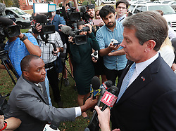 Secretary of State Brian Kemp, Republican candidate for Georgia governor, takes questions from the news media after casting his vote at the Winterville Train Depot on Tuesday, Nov. 6, 2018, in Winterville, Ga. Photo by Curtis Compton/Atlanta Journal-Constitution/TNS/ABACAPRESS.COM