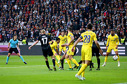 Chelsea's Pedro (third left) scores his side's first goal of the game during the UEFA Europa League Semi final, first leg match at The Frankfurt Stadion, Frankfurt.