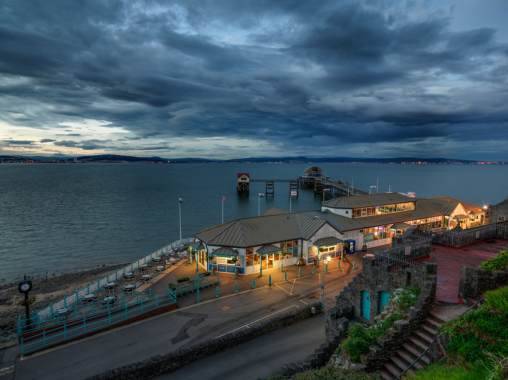 Mumbles Pier in Swansea, Wales at night.  Licensing and Open Edition Prints.