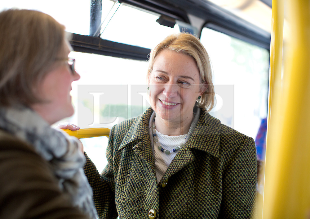 © Licensed to London News Pictures. 03/05/2015. London, UK. Natalie Bennett, Leader of the Green Party of England and Wales, campaigns in Islington, London, with local Green candidate Caroline Russell (left). Photo credit: LNP