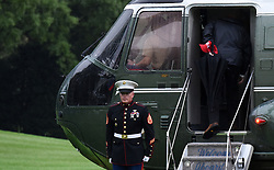 September 2, 2017 - Washington, District of Columbia, United States of America - United States President Donald J. Trump boards Marine One prior departure from the White House September 2, 2017 in Washington, DC. The President and first lady are traveling to Texas to visit individuals impacted by Hurricane Harvey. .Credit: Olivier Douliery / Pool via CNP (Credit Image: © Olivier Douliery/CNP via ZUMA Wire)