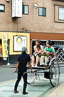"""Rickshaw at Hakone Taki-Dori or """"Waterfall Street"""" is the main drag of hot spring spa resorts in Hakone, for which the town is famous besides its access to hiking, boating and Mt Fuji views."""