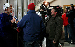 Mitja Sivic giving an interview at  hockey training of Slovenian national team, on December 12, 2007 in Bled - Ice Arena, Slovenia. (Photo by Vid Ponikvar / Sportal Images)
