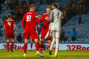 Aberdeen Players celebrate their 2-0 victory over Rangers in the William Hill Scottish Cup quarter final replay match between Rangers and Aberdeen at Ibrox, Glasgow, Scotland on 12 March 2019.