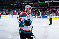 KELOWNA, CANADA - JANUARY 10: Cal Foote #25 of the Kelowna Rockets skates to the bench to celebrate  a goal against the Spokane Chiefs on January 10, 2017 at Prospera Place in Kelowna, British Columbia, Canada.  (Photo by Marissa Baecker/Shoot the Breeze)  *** Local Caption ***