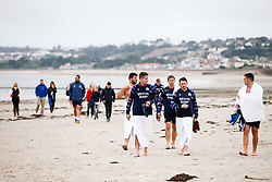 Bristol Rugby take part in a morning after game recovery session in the sea - Rogan/JMP - 29/10/2017 - RUGBY UNION - Jersey Marine Lake - St Helier, Jersey - Jersey Reds v Bristol Rugby - Greene King IPA Championship.