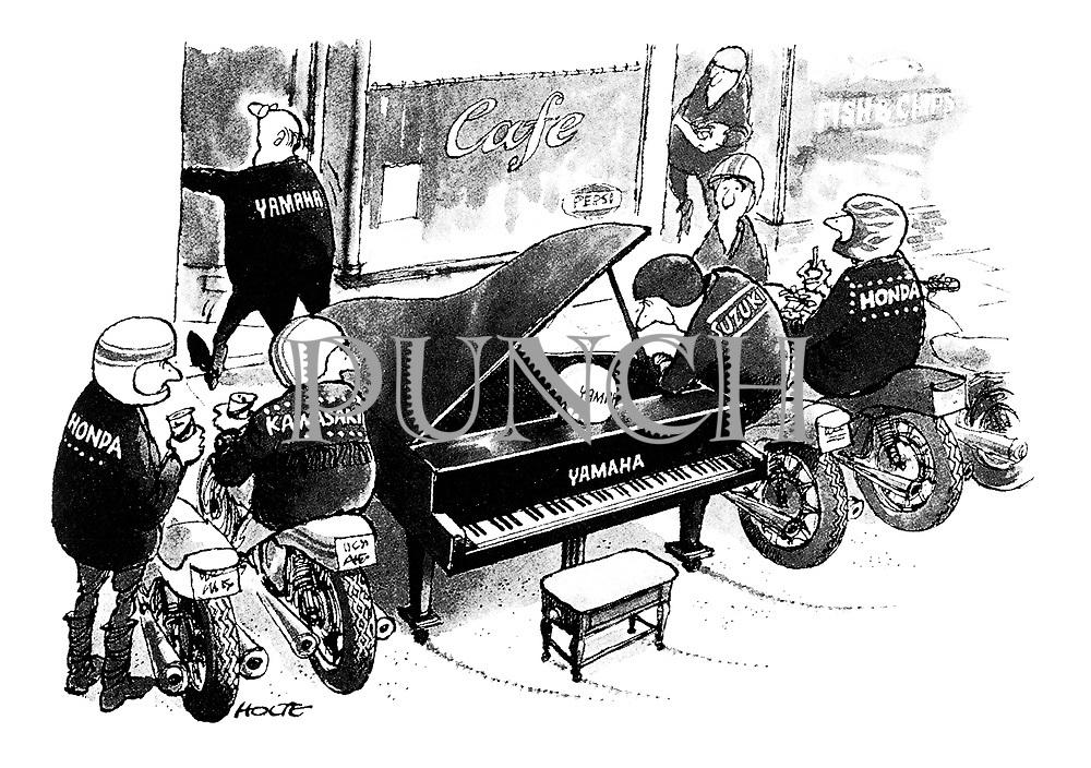 (A gang of bikers gather outside a cafe all riding Japanese motor bikes, except one who's riding a Yamaha grand piano.)