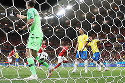 ROSTOV-ON-DON, June 17, 2018  Steven Zuber (C) of Switzerland celebrates scoring during a group E match between Brazil and Switzerland at the 2018 FIFA World Cup in Rostov-on-Don, Russia, June 17, 2018. The match ended in a 1-1 draw. (Credit Image: © Li Ming/Xinhua via ZUMA Wire)