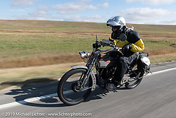 Bryan Bossier riding his 1925 Brough Superior model SS80 on the Motorcycle Cannonball coast to coast vintage run. Stage 12 (242 miles) from Great Falls to Kalispell, MT. Thursday September 20, 2018. Photography ©2018 Michael Lichter.