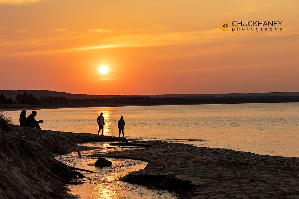 Taking in a Lake Superior Sunset at Au Train Bay near Munising, Michigan, USA