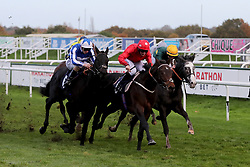 Edgewood ridden by P J McDonald wins the Download The Marathonbet App Cock O'The North EBF Maiden Stakes race during Marathonbet November Handicap Day at Doncaster Racecourse.