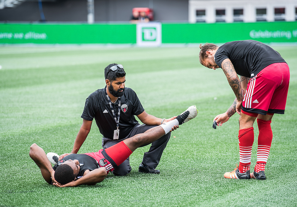The pre-game warmup before the NASL match between the Ottawa Fury FC and Indy Eleven FC at TD Place Stadium in Ottawa, ON. Canada on Aug. 28, 2016 with the game finishing in a 1-1 draw.<br /> <br /> PHOTO: Steve Kingsman/Freestyle Photography