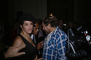 TRACEY EMIN AND JULIAN SCHNABEL, Book launch party for 'Strangeland' by Tracey Emin.  33 Portland Place. London. 21 October 2005. ONE TIME USE ONLY - DO NOT ARCHIVE © Copyright Photograph by Dafydd Jones 66 Stockwell Park Rd. London SW9 0DA Tel 020 7733 0108 www.dafjones.com