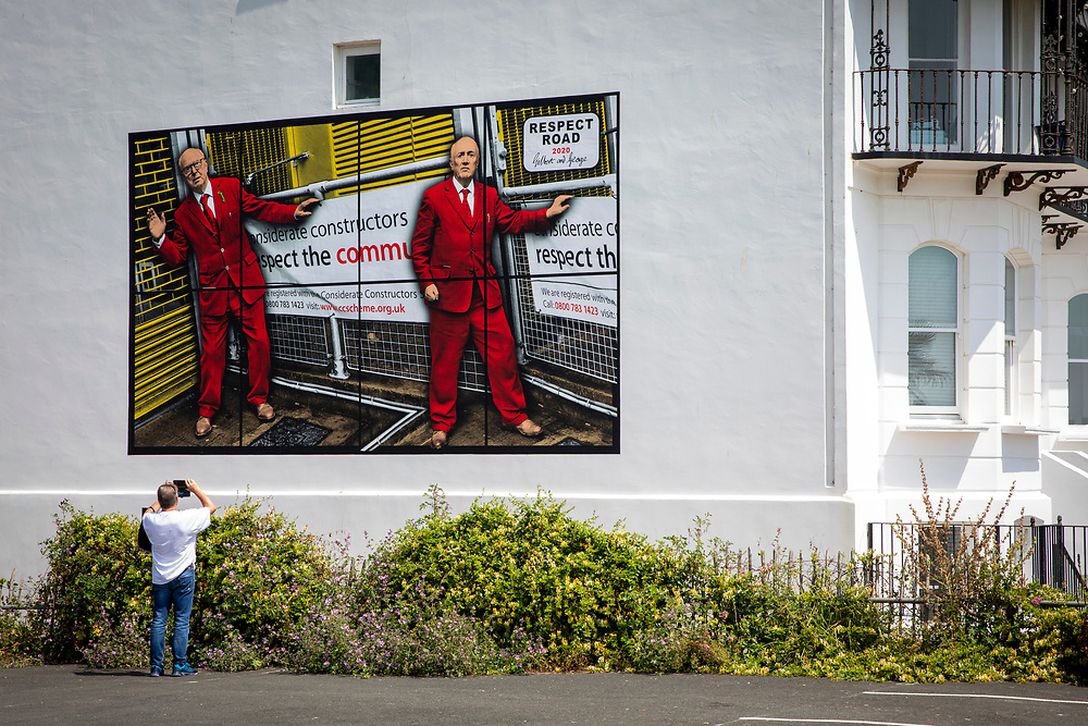 Respect Road 2020 by artists Gilbert & George, one of six images that will be displayed as billboards for the Creative Folkestone Triennial 2020, The Plot on 20th of July 2021, in Folkestone, United Kingdom. Folkestone's 5th open air art exhibition The Plot sees 27 newly commissioned artworks appearing around the south coast seaside town. The new work builds on the work from previous triennials making Folkestone the biggest urban outdoor contemporary art exhibition in the UK.  (photo by Andrew Aitchison / In pictures via Getty Images)