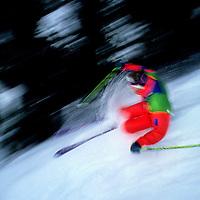 SKIING, Fernie, B.C., Ski instructor makes tracks in the rain.