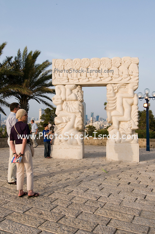 Israel, renovated old city of Jaffa now an artist's colony. Statue of Faith by Daniel Kafri, Abrasha Summit Park