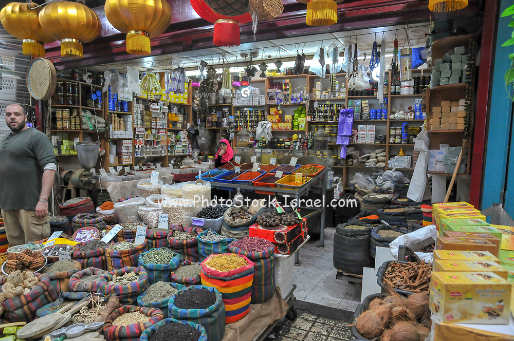 Israel, western Galilee, Acre, The Old City market souvenir stand
