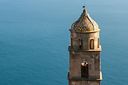A towerbell of a church of the village of Furore, Italy. Furore, located on the Amalfi coast, expands from sea level, where there is the hamlet of Fiordo di Furore, and a little civil parish partly belonging to Praiano named Marina di Praia, up to Agerola (550 meters above sea level).
