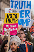 On Whitehall in front of Downing Street - A march against racism and to ban the ban (against immigration from certain countries to the USA) is organised by Stand Up To Racism and supported by Stop the War and several unions. It stated with a rally at the US Embassy in grosvenor Square and ended up in Whitehall outside Downing Street. Thousands of people of all races and ages attended.