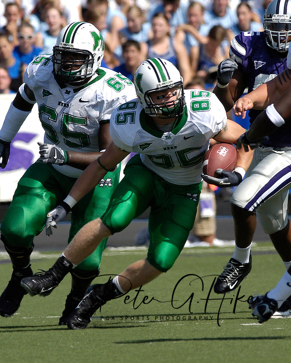 Marshall tight end Cody Slate (85) rushes up field after making a catch against Kansas State, at Bill Snyder Family Stadium in Manhattan, Kansas, September 16, 2006.  The Wildcats beat the Thundering Herd 23-7.