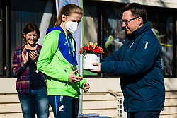 Tina Sutej 2nd place in pole vault at European Championships with Roman Dobnikar during reception and press conference on return of Slovenian Athletic National team from European Championships in Torun (POL), on March 8, 2021 in  Ljubljana, Slovenia.  Photo by Grega Valancic / Sportida