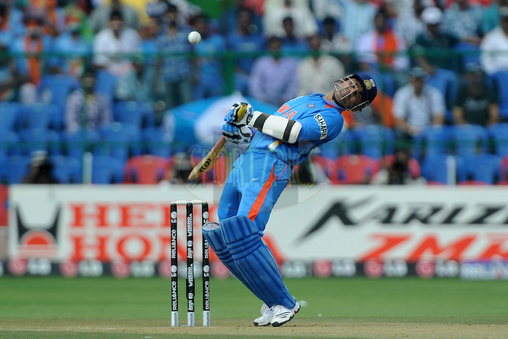Virender Sehwag of India bats during the ICC Cricket World Cup match between India and England held at the M Chinnaswamy Stadium in Bengaluru, Bangalore, Karnataka, India on the 27th February 2011..Photo by Pal Pillai/BCCI/SPORTZPICS